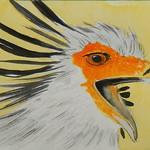 Secretary Bird, 4x6, watercolor & pencil, aug 15, 2016 DSCN0304